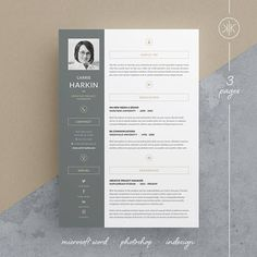 carrie resumecv template word photoshop indesign - Template Resume Word