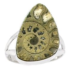 Fossil-Pyrite-Ammonite-925-Sterling-Silver-Ring-Jewelry-s-10-SR148083