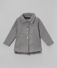Look what I found on #zulily! Silver Ruffle Peacoat - Girls by Steve Madden #zulilyfinds