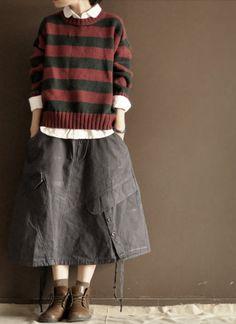 Grey  cotton  linen skirt