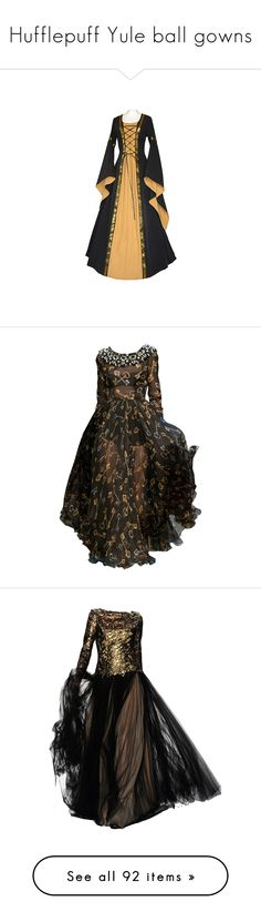 """""""Hufflepuff Yule ball gowns"""" by weeby ❤ liked on Polyvore featuring fans, dresses, medieval, costumes, gowns, medieval dresses, dolce gabbana evening dresses, brown gown, brown dress and dolce gabbana dress"""
