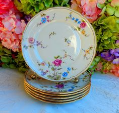 6 Beautiful Vintage Castleton Porcelain Salad Plates ~ Sunnyvale Gold Roses #Castleton