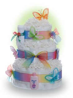 Start the new baby with the Sweet Butterfly Diaper Cake though not as sweet as the little one who will receive this gift.  This baby diaper cake makes a perfect gift for the new parent with all the useable items. Only $84.00