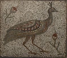 Mosaic with a Peacock and Flowers, 3rd–4th century. Roman or Byzantine. The Metropolitan Museum of Art, New York. Gift of Kirkor Minassian, 1926 (26.68) #peacock