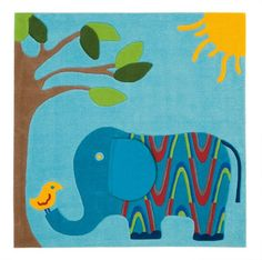 Kids Rugs - Elephant 130x130cm