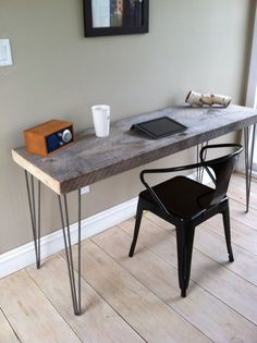 "Weathered barnwood desk, modern rustic style featuring hairpin legs, 20"" x 50"". on Etsy, $375.00"