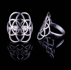 Seed of life ring silver sacred geometry ring 925 flower of Silver Jewelry, Silver Rings, Seed Of Life, Sacred Geometry, Pure Products, Jewellery, Flower, Casual, Beautiful