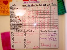 This may seem really dorky and really cheesy but it's actually worked! After Jeremy and I moved to Chicago we realized we started slipping into hold habits, we were eating out a lot rather than cooking dinner, stopped spending time at the gym, and were just being totally lazy! He had a great idea that we should make a goal chart! It is fun to give each other check marks, it's almost like a competition! We set a goal to have 80% of the boxes checked, and if we do by Sunday we get to treat…