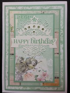 Birthday Card - made using Star Frame Banner (The Die Fairy Die), Bo Bunny Madeleine PP, Stampin' Up! Curly Cute Stamp Set and bling from stash.