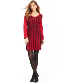 Style&co. Long-Sleeve Ribbed-Knit Sweaterdress | macys.com... in black/ gray.. sz xl