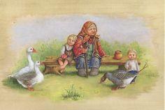 """Серия """"Русские сказки"""" - Гуси-лебеди художник людмила романова"""