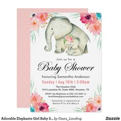 Adorable Elephants Girl Baby Shower Card - This adorable baby shower invitation is designed especially to welcome a baby girl. It features a mother and the cutest little baby girl elephant with a bouquet of flowers on her head. Matching watercolor flowers surround the frame of this invitation. Sold at Oasis_Landing on Zazzle.