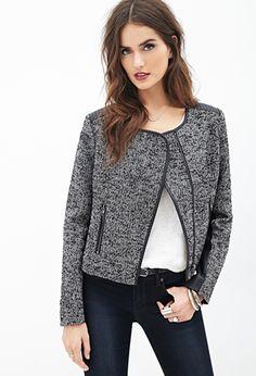 Faux Leather-Paneled Tweed Jacket | FOREVER21 - 2000058316
