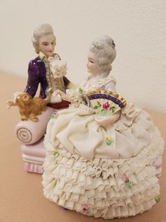 Dresden Lace Sitting Lady and Gentleman Figurine