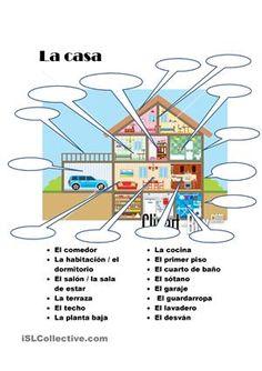 Asociación de vocabulario con imágenes para aprender las palabras más importantes de la casa. Útil para emepezar el año. Se puede utilizar como examen de vocabulario también. - Trabajos ELE