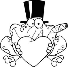 Clipart Illustration of Valentine Coloring Page of a Frog In a Top Hat Smoking a Cigar While Holding a Heart #2619748 | Clipart.com Valentine Coloring Pages, Valentines Day Clipart, Clipart Images, Cigars, Royalty Free Images, Smoking, Hold On, Clip Art, Hats