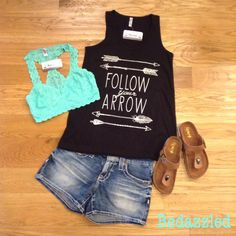 Follow your arrow tank and lace bralette