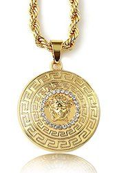 "Halukakah Men's 18k Stamp Real Gold Plated 3D ""MEDUSA"" Pendant Necklace with FREE Rope Chain 30"" Thick 5mm"