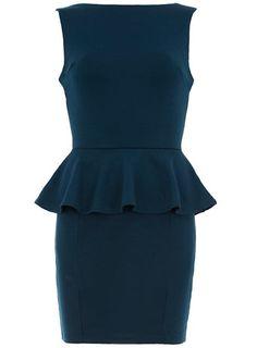 Robe bleu canard à basques