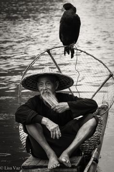 The old Fisherman - The old Chinese fisherman with his cormorant. Yangshuo, China
