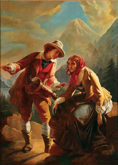 """-Studio of Jean-Claude Bonneford  (French 1796-1860)  -A Hurdy Gurdy Player with a Young Woman in an Alpine Lake Landscape  -Oil on canvas  -Inscribed on stretcher """"J.C. BONNEFORD""""  -51 inches x 37 inches (130 x 94 cm)  -Estimate: $3,000-$5,000"""