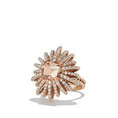 David Yurman Starburst Ring with Diamonds and Morganite in 18K Rose Gold, 25mm