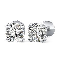 Double Prong Stud Earrings with Round Cut Diamonds by 90210Jewelry.com ❤