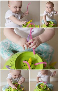 We did this fun little activity when Lilly was 8 months old. It was so much fun and so easy! All you need is a colander from your kitche...
