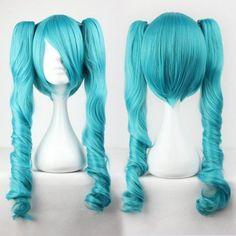 Women'S Green Fashion Vocaloid-Miku Cosplay Long Curly Ponytail Lolita Anime Wig