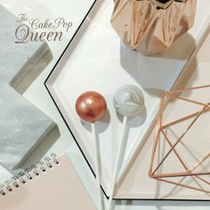 Rose gold and marble cake pops