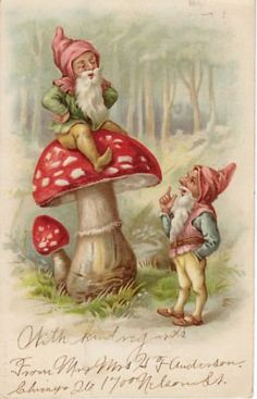 Vintage Christmas postcard,with a gnome entering a toadstool house . Woodland Creatures, Magical Creatures, Elves And Fairies, Mushroom Art, Fairy Art, Illustrations, Faeries, Gnomes, Fantasy Art