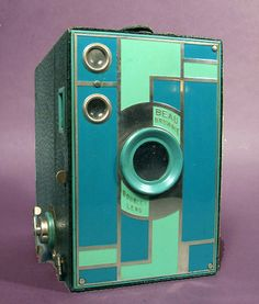 GREEN/TEAL Kodak Beau Brownie No. 2A Art Deco Camera 1931
