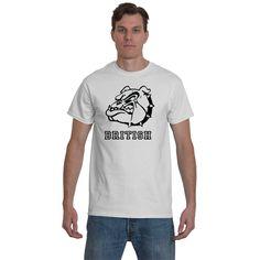"""British+Bulldog""+-+Men's+White+Gildan+Tshirt;+-+Designs+via+Direct+to+Garment+printing+for+Highest+quality+images.+(avail:+White+only)+(sizes:+s/m/l/xl)"