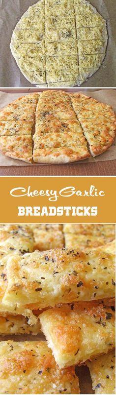 Easy Cheesy Garlic Breadsticks A seductive chewy, crispy, garlicky, cheesy breadsticks Think Food, I Love Food, Good Food, Yummy Food, Tapas, Cheesy Breadsticks, Foccacia Recipe, Cheesy Garlic Breadsticks Recipe, Bruchetta Recipe