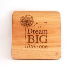 """""""Dream big little one"""". Inspiring words depicted by a lovely, calming design for a nursery or a kid's room. Wooden Wall Art, Wooden Walls, Big Little, Wall Art Designs, Bamboo Cutting Board, Dream Big, Solid Wood, Kids Room, Art Pieces"""