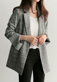 RUGOD 2018 New Spring Gray Plaid Belted Office Lady Blazer Jacket Fashion Notched Collar Work Suit Elegant Work Blazers Feminino Plaid Blazer, Blazer Outfits, Blazer Fashion, Fashion Outfits, Plaid Suit, Plaid Outfits, Plaid Jacket, Blazer Dress, Gray Jacket
