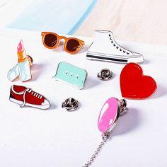 X122 Cartoon Gym shoes Balloon Lipstick Heart Sunglass Cute Metal Brooch Pins Button Pins Gift Wholesale
