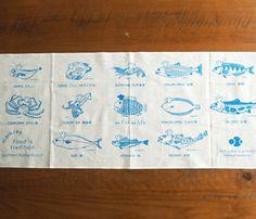 函館直送 プラスさかなプロジェクト | 丸善 川原水産 手ぬぐい maruzen kawahara sea food