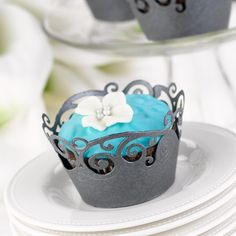 Black Shimmer Cupcake Wraps (Set of 25) (Hortense B Hewitt 30321) | Buy at Wedding Favors Unlimited (http://www.weddingfavorsunlimited.com/filigree_cupcake_wraps_4_colors.html).