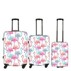 #Kofferset Saxoline #Flamingo bei Koffermarkt: ✓Flamingo-Print in rosa und blau ✓3-tlg.: klein, mittel, groß ✓ABS-Polycarbonat ⇒Jetzt kaufen