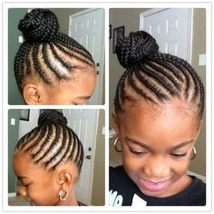 Pretty Cornrow style African American natural protective nature styles for girls teens kids bun side ponytail