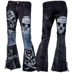 Stage Pants MTO - Distressed Black and Blue Denim WSCP-129