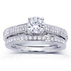 Annello by Kobelli 14k Gold 7/8ct TDW Round-cut Diamond Bridal Rings Set