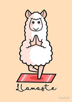 'Llamaste - Yoga Llama' Spiral Notebook by YamPuff Llamaste - Yoga Llama<br> Namaste. This llama has found inner peace through yoga. Alpacas, Alpaca Illustration, Llama Drawing, Cute Llama, Funny Llama, Llama Llama, Llama Arts, Cute Drawings, Cute Wallpapers