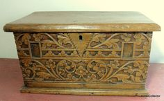 "Antique 18thc English? Gothic Carved Chest Wood Box Small Trunk 10""tall X 20x12"""
