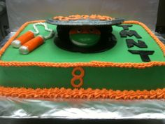TMNT birthday cake.  Buttercream with fondant decorations and sugar cookie sewer lid.  Created by The Flavor Station