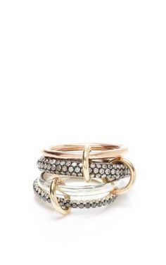 Vega Black Gold Linked Rings by Spinelli Kilcollin for Preorder on Moda Operandi
