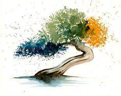 Autumn árbolpaisaje pinturaacuarelanaranja otoñal por Ireart