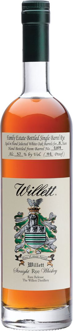 Willett 8 Year Old Single Barrel Straight Rye #Whiskey. Aged for eight years, this single barrel rye whiskey was bottled at cask strength. | @Caskers