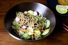cold buckwheat noodles with miso and ginger by smittenkitchen. Use up all that green market goodness!